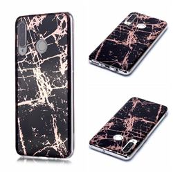 Black Galvanized Rose Gold Marble Phone Back Cover for Huawei P30 Lite