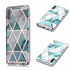 Green White Galvanized Rose Gold Marble Phone Back Cover for Huawei P30 Lite