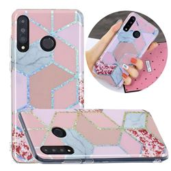 Pink Marble Painted Galvanized Electroplating Soft Phone Case Cover for Huawei P30 Lite
