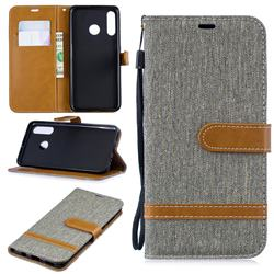 Jeans Cowboy Denim Leather Wallet Case for Huawei P30 Lite - Gray