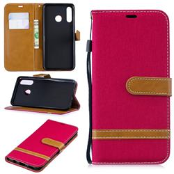 Jeans Cowboy Denim Leather Wallet Case for Huawei P30 Lite - Red