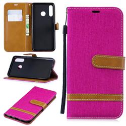 Jeans Cowboy Denim Leather Wallet Case for Huawei P30 Lite - Rose