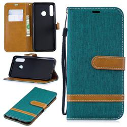 Jeans Cowboy Denim Leather Wallet Case for Huawei P30 Lite - Green