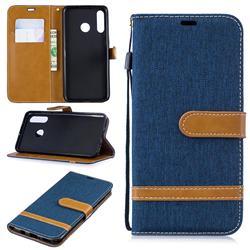 Jeans Cowboy Denim Leather Wallet Case for Huawei P30 Lite - Dark Blue