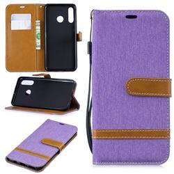 Jeans Cowboy Denim Leather Wallet Case for Huawei P30 Lite - Purple