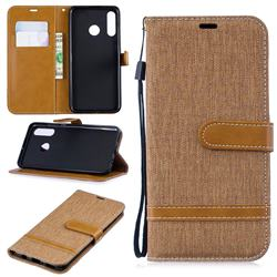 Jeans Cowboy Denim Leather Wallet Case for Huawei P30 Lite - Brown