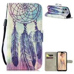 Feather Wind Chimes 3D Painted Leather Wallet Phone Case for Huawei P30 Lite