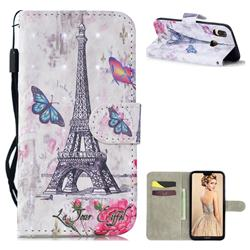 Paris Tower 3D Painted Leather Wallet Phone Case for Huawei P30 Lite