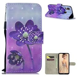 Purple Flower 3D Painted Leather Wallet Phone Case for Huawei P30 Lite