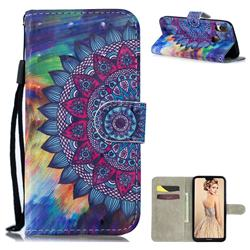 Oil Painting Mandala 3D Painted Leather Wallet Phone Case for Huawei P30 Lite