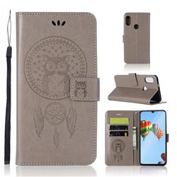 Intricate Embossing Owl Campanula Leather Wallet Case for Huawei P30 Lite - Grey