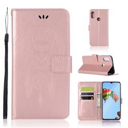 Intricate Embossing Owl Campanula Leather Wallet Case for Huawei P30 Lite - Rose Gold
