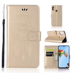Intricate Embossing Owl Campanula Leather Wallet Case for Huawei P30 Lite - Champagne