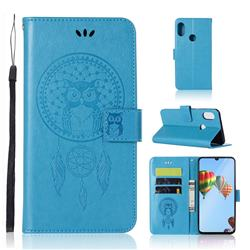 Intricate Embossing Owl Campanula Leather Wallet Case for Huawei P30 Lite - Blue