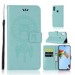 Intricate Embossing Owl Campanula Leather Wallet Case for Huawei P30 Lite - Green