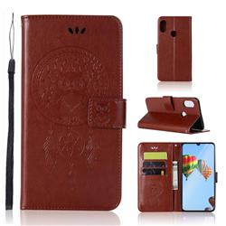 Intricate Embossing Owl Campanula Leather Wallet Case for Huawei P30 Lite - Brown