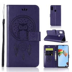 Intricate Embossing Owl Campanula Leather Wallet Case for Huawei P30 Lite - Purple