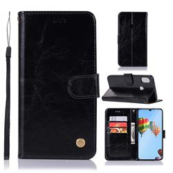 Luxury Retro Leather Wallet Case for Huawei P30 Lite - Black
