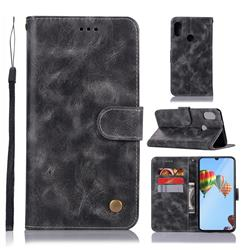 Luxury Retro Leather Wallet Case for Huawei P30 Lite - Gray
