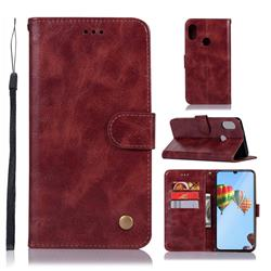Luxury Retro Leather Wallet Case for Huawei P30 Lite - Wine Red