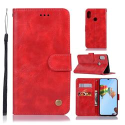 Luxury Retro Leather Wallet Case for Huawei P30 Lite - Red