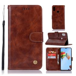Luxury Retro Leather Wallet Case for Huawei P30 Lite - Brown
