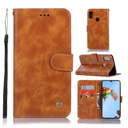 Luxury Retro Leather Wallet Case for Huawei P30 Lite - Golden