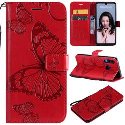 Embossing 3D Butterfly Leather Wallet Case for Huawei P30 Lite - Red