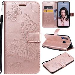 Embossing 3D Butterfly Leather Wallet Case for Huawei P30 Lite - Rose Gold