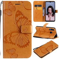 Embossing 3D Butterfly Leather Wallet Case for Huawei P30 Lite - Yellow