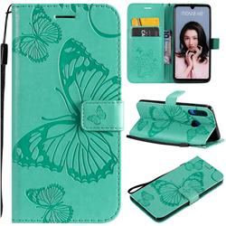 Embossing 3D Butterfly Leather Wallet Case for Huawei P30 Lite - Green
