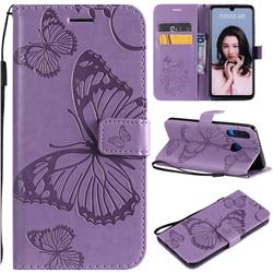 Embossing 3D Butterfly Leather Wallet Case for Huawei P30 Lite - Purple
