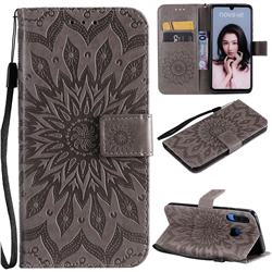 Embossing Sunflower Leather Wallet Case for Huawei P30 Lite - Gray