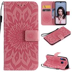 Embossing Sunflower Leather Wallet Case for Huawei P30 Lite - Pink