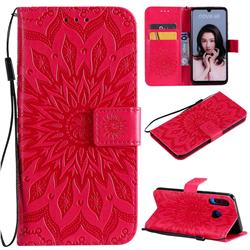 Embossing Sunflower Leather Wallet Case for Huawei P30 Lite - Red