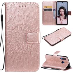 Embossing Sunflower Leather Wallet Case for Huawei P30 Lite - Rose Gold