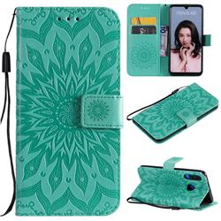 Embossing Sunflower Leather Wallet Case for Huawei P30 Lite - Green