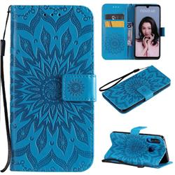 Embossing Sunflower Leather Wallet Case for Huawei P30 Lite - Blue