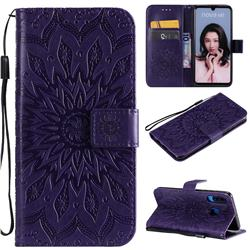Embossing Sunflower Leather Wallet Case for Huawei P30 Lite - Purple
