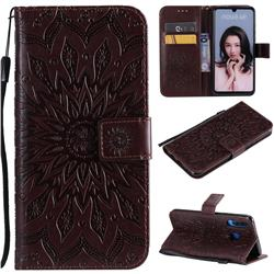 Embossing Sunflower Leather Wallet Case for Huawei P30 Lite - Brown