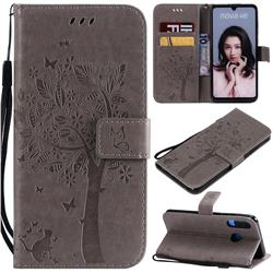Embossing Butterfly Tree Leather Wallet Case for Huawei P30 Lite - Grey