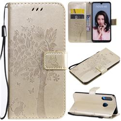 Embossing Butterfly Tree Leather Wallet Case for Huawei P30 Lite - Champagne