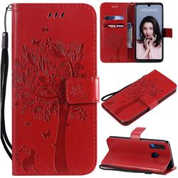 Embossing Butterfly Tree Leather Wallet Case for Huawei P30 Lite - Red