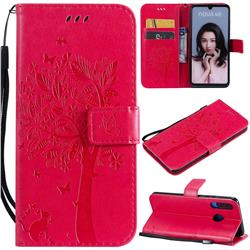 Embossing Butterfly Tree Leather Wallet Case for Huawei P30 Lite - Rose