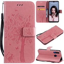 Embossing Butterfly Tree Leather Wallet Case for Huawei P30 Lite - Pink