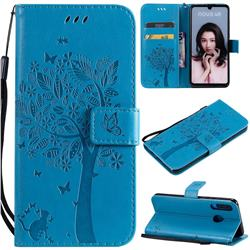 Embossing Butterfly Tree Leather Wallet Case for Huawei P30 Lite - Blue