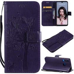 Embossing Butterfly Tree Leather Wallet Case for Huawei P30 Lite - Purple