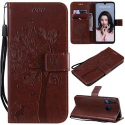 Embossing Butterfly Tree Leather Wallet Case for Huawei P30 Lite - Coffee