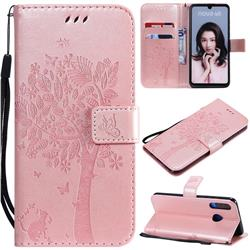 Embossing Butterfly Tree Leather Wallet Case for Huawei P30 Lite - Rose Pink