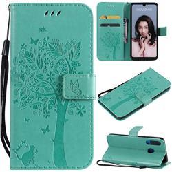 Embossing Butterfly Tree Leather Wallet Case for Huawei P30 Lite - Cyan